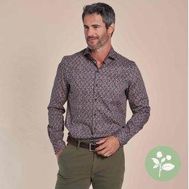 R2 Zwart stippenprint dobby organic cotton-stretch overhemd