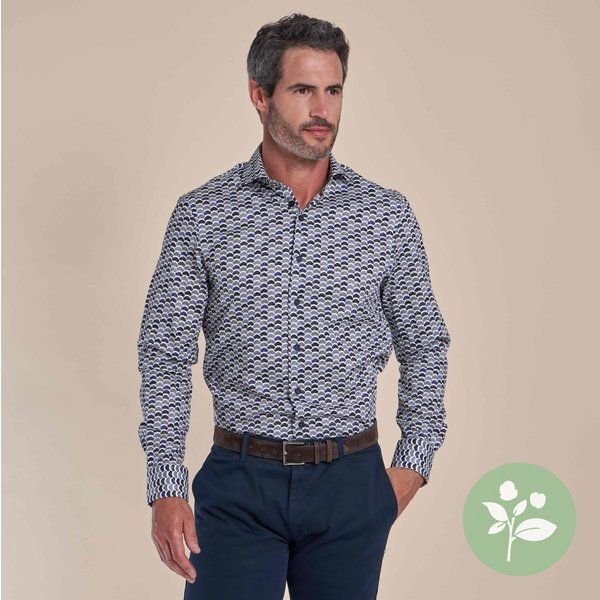 R2 Wit dobby stoelenprint organic cotton-stretch overhemd
