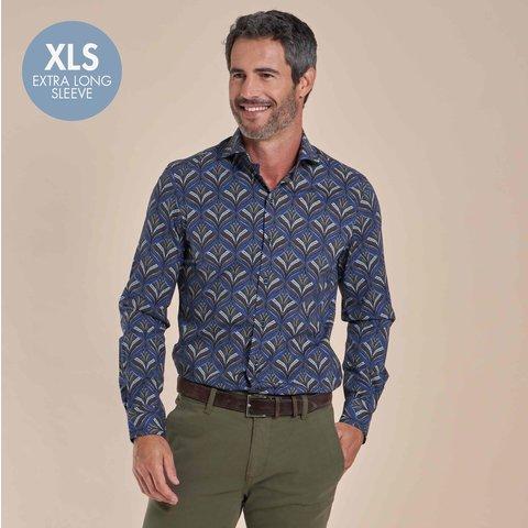 Extra lange mouwen. Donkerblauw plantenprint cotton-stretch overhemd