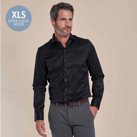 Extra lange mouwen. Zwart 2-PLY katoenen overhemd