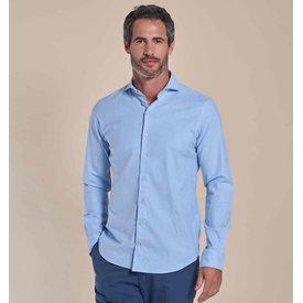 R2 Lichtblauw flanel stretch katoenen overhemd