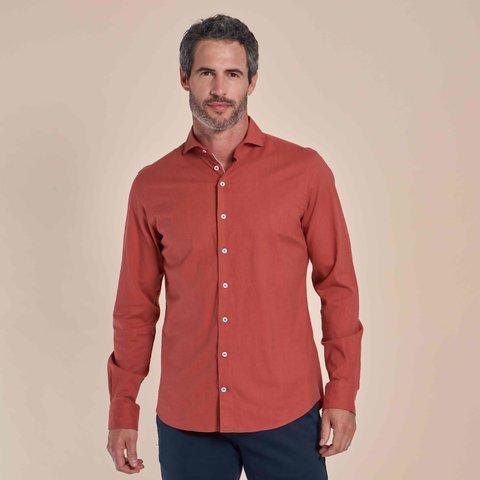 Oranje flanel stretch katoenen overhemd