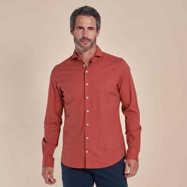 R2 Oranje flanel stretch katoenen overhemd