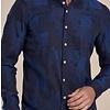 Blauw geruit Jacquard katoenen overhemd