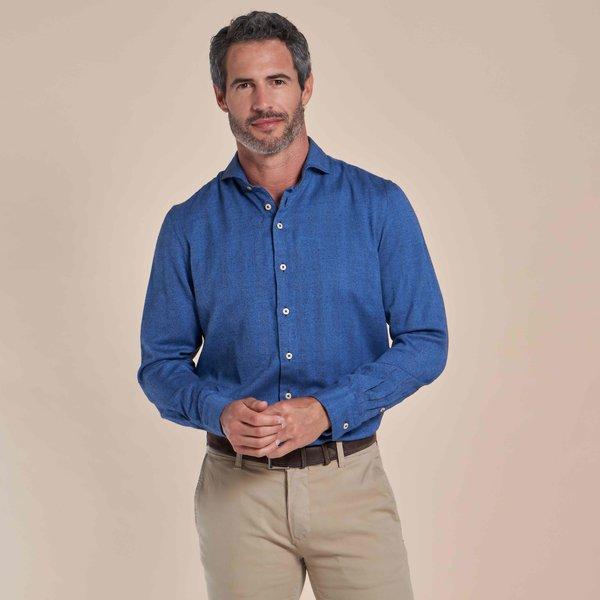 R2 Blauw herringbone organic cotton overhemd