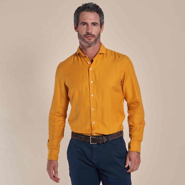R2 Gelb herringbone organic Baumwolle Hemd