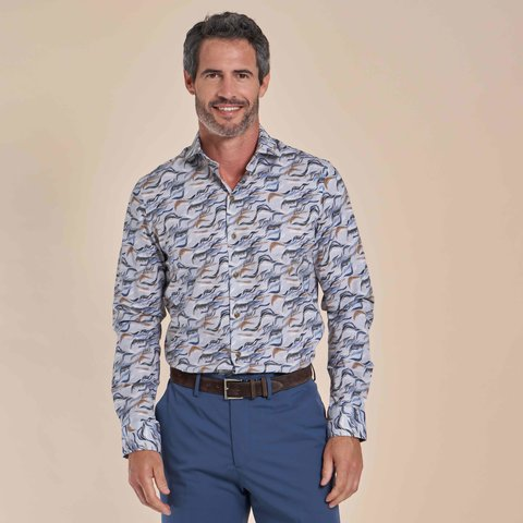 Grijs fantasieprint katoen-stretch overhemd