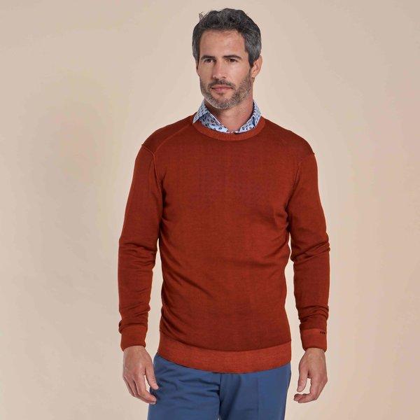 R2 Oranje 100% wollen trui