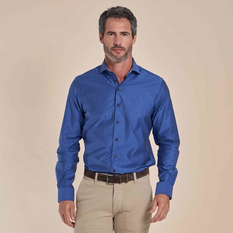 Blauw 2-PLY katoenen overhemd
