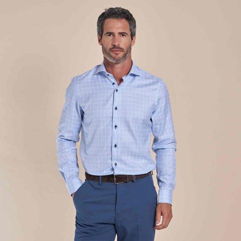 Lichtblauw geruit dobby 2-PLY katoenen overhemd