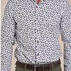 Wit stoelenprint katoen-stretch overhemd