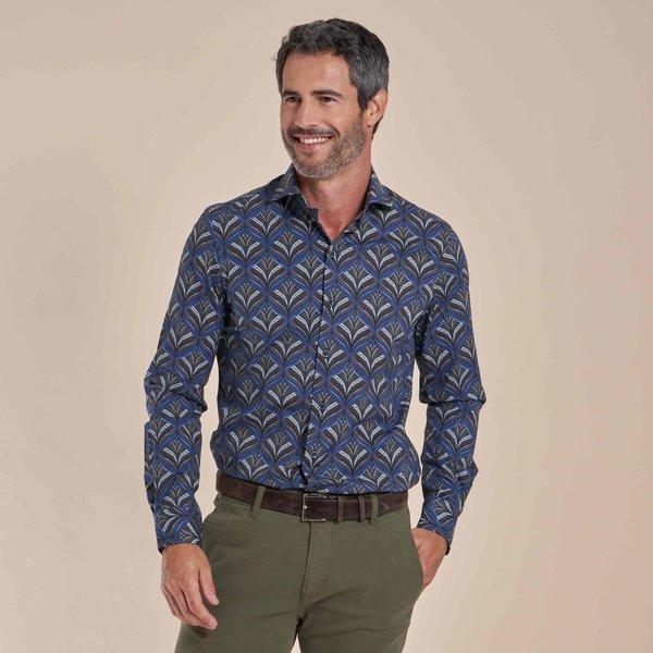R2 Donkerblauw plantenprint cotton-stretch overhemd