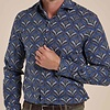 Donkerblauw plantenprint cotton-stretch overhemd