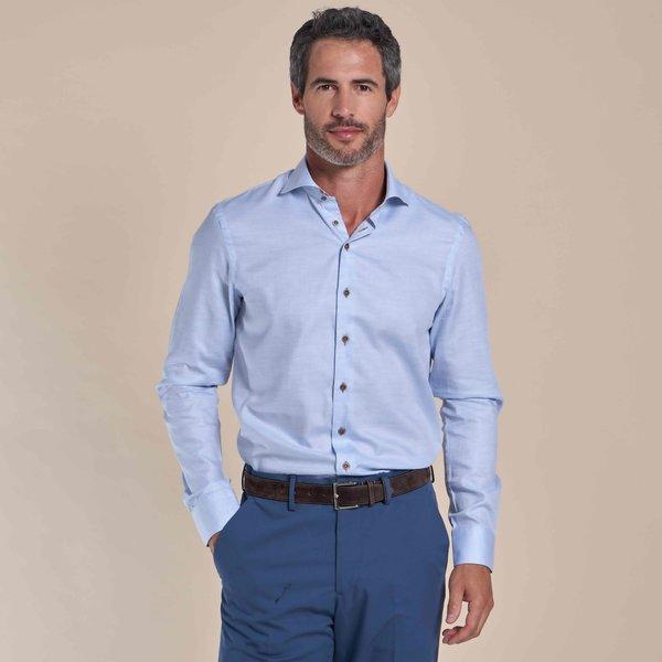 R2 Lichtblauw mélange katoenen overhemd