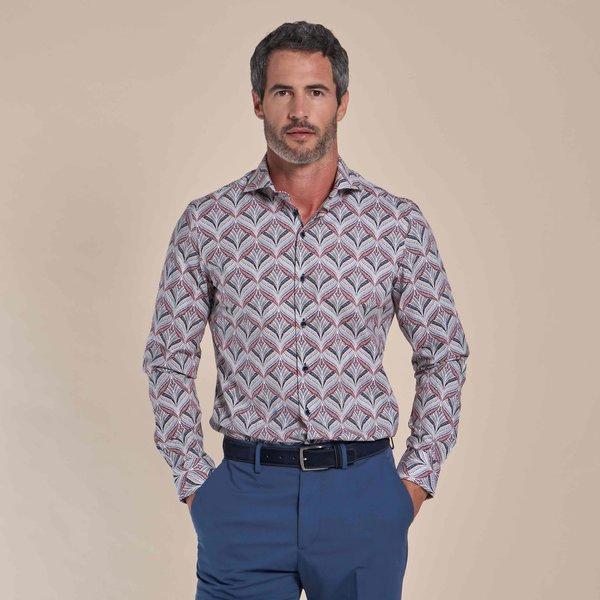 R2 Wit plantenprint cotton-stretch overhemd