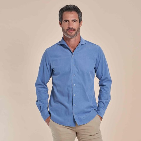 Lichtblauw fijn ribcord katoenen overhemd