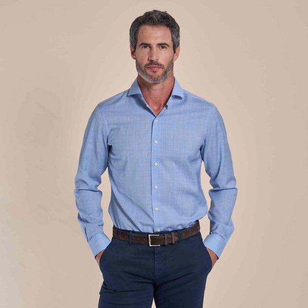 R2 Lichtblauw 100% merino wollen overhemd