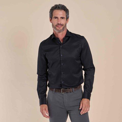Zwart 2-PLY katoenen overhemd