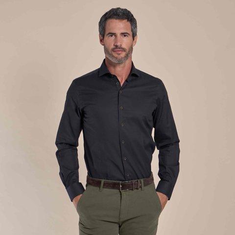 Donkerbruin 2-PLY katoenen overhemd