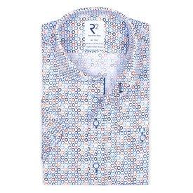 R2 Korte mouwen wit cirkelprint organic katoenen overhemd.