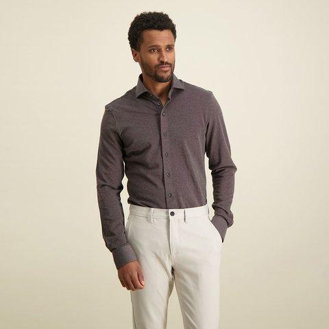 Grijs piqué knitted katoenen overhemd.