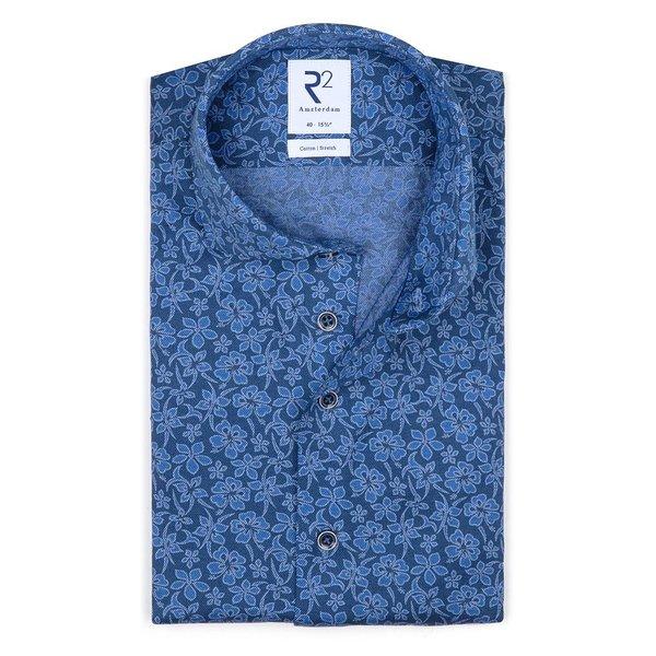 R2 Blauw piquet knitted katoenen overhemd.