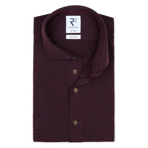 Rood bourgundy piqué knitted katoenen overhemd.