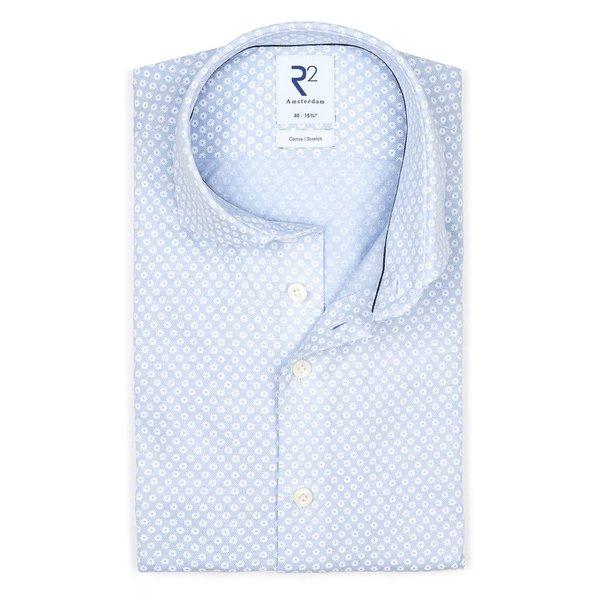 R2 Lichtblauw piqué knitted katoenen overhemd.