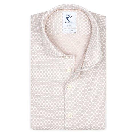 Beige piqué knitted katoenen overhemd.