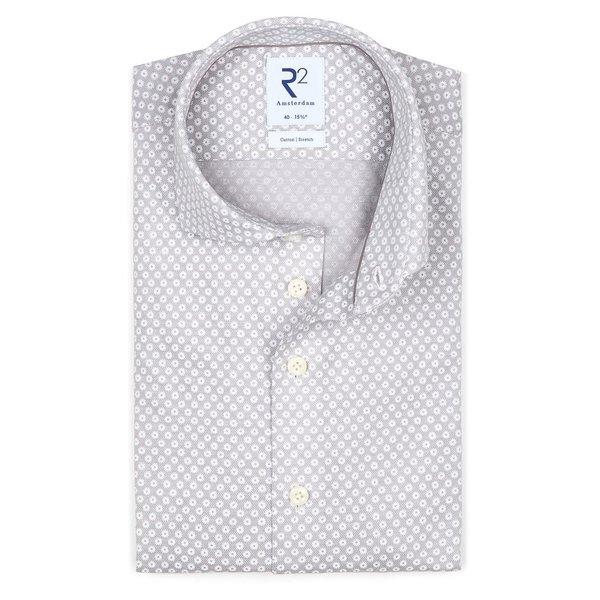 R2 Grijs piqué knitted katoenen overhemd.