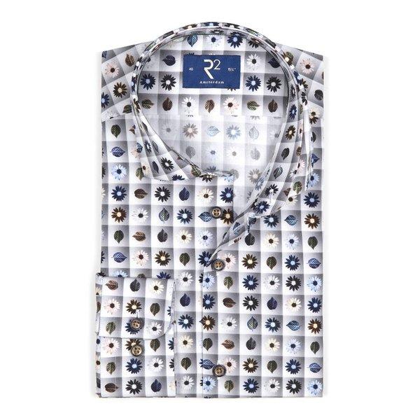 R2 Grey flower print cotton shirt.