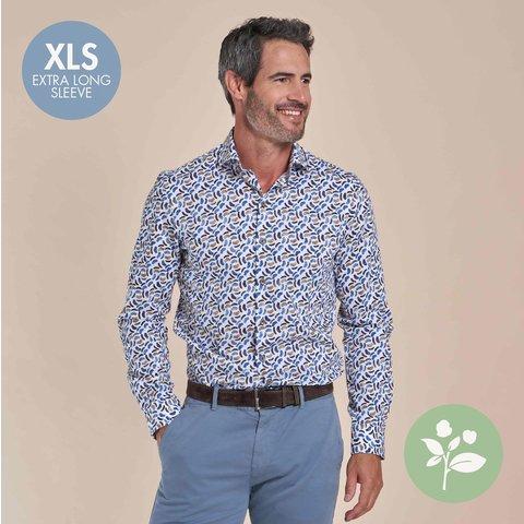 Extra lange mouwen. Wit stoelenprint dobby organic cotton overhemd