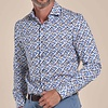 Extra lange Ärmel. Weiß Stühle Druck dobby organic Baumwolle Hemd