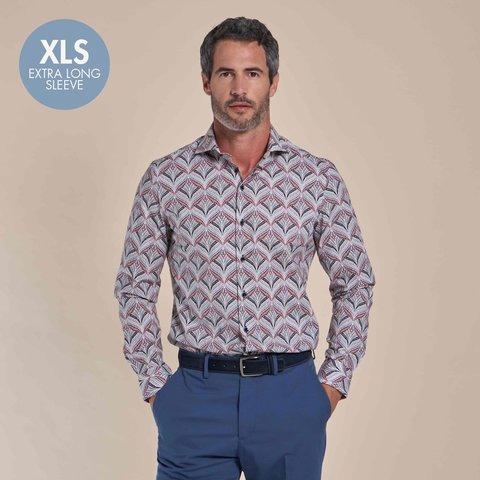 Extra long sleeves. White paisley print cotton shirt