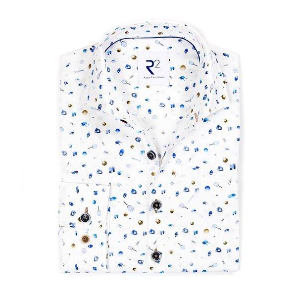R2 Kids sportprint katoenen overhemd.