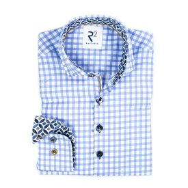 R2 Kids blue and white checkered cotton Oxford shirt.