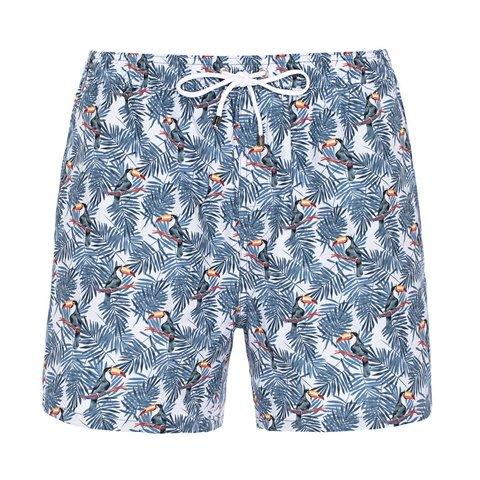 Swim short with toucans.