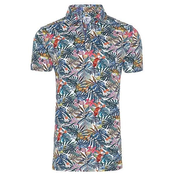 R2 Multicolored flower print polo shirt.