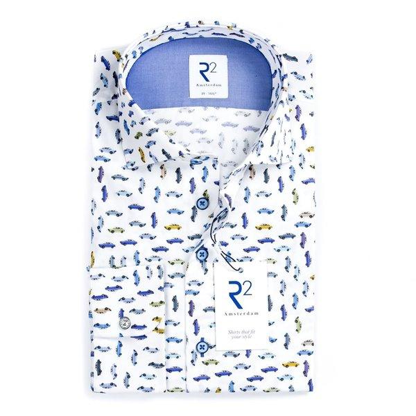 R2 White DAF car print cotton shirt.