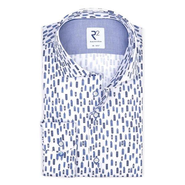 R2 White houses print cotton shirt.