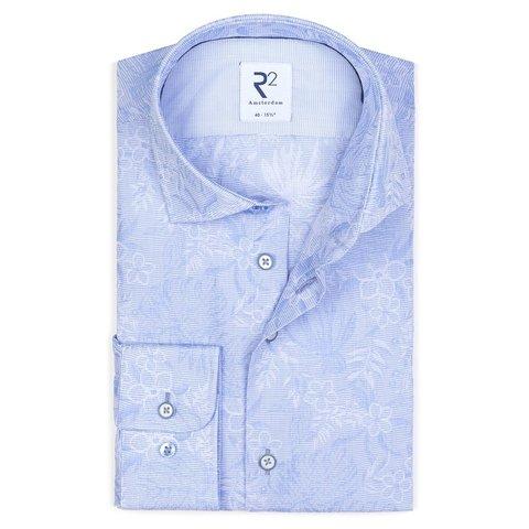 Light blue flower print cotton shirt.