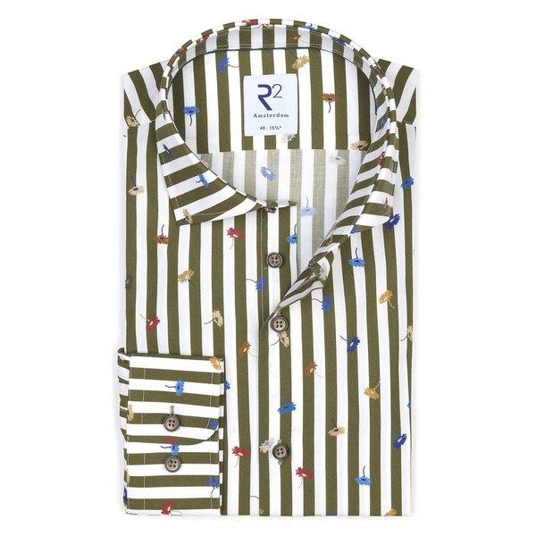 R2 White green striped cotton shirt.
