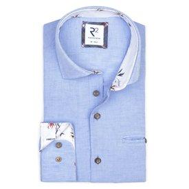 R2 Lichtblauw linnen/katoenen overhemd met borstzak.
