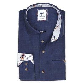 R2 Donkerblauw linnen/katoenen overhemd met borstzak.