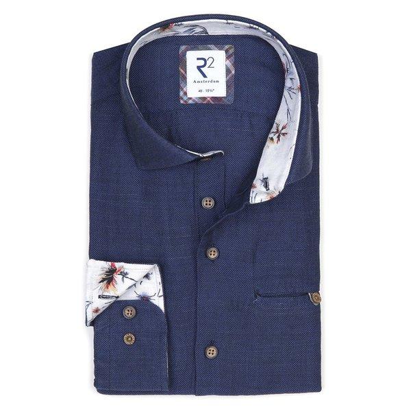 R2 Dark blue linen/cotton shirt with chest pocket.