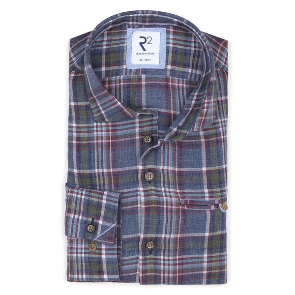 R2 Coloured check linen/cotton shirt with chest pocket.
