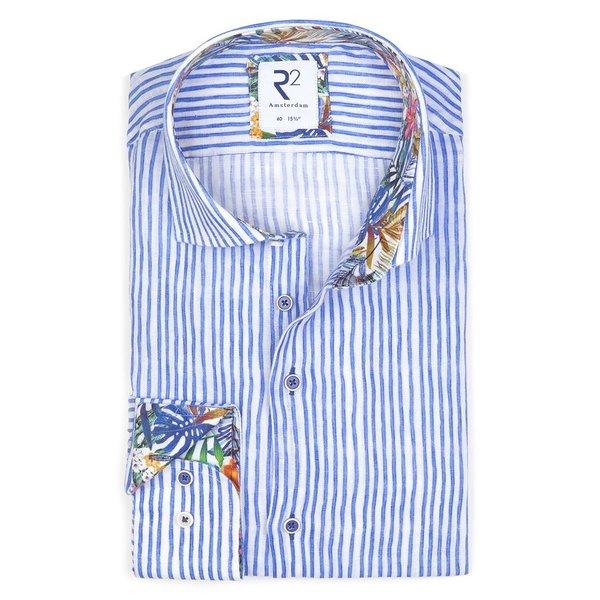 R2 Wit blauw gestreept linnen overhemd.