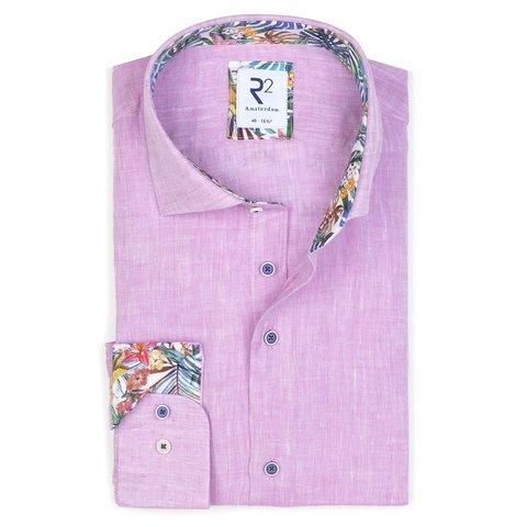 Pink linen shirt.