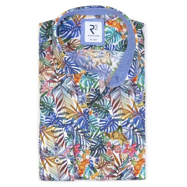 R2 Multicoloured linen shirt.
