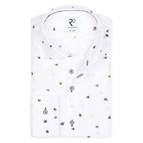 White flowerprint viscose shirt.